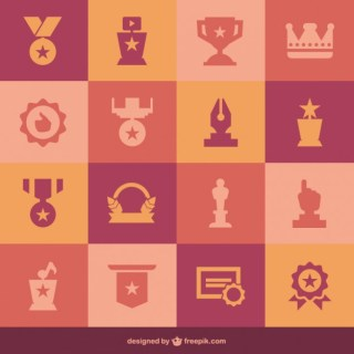 Flat Medals of Icons Free Vector