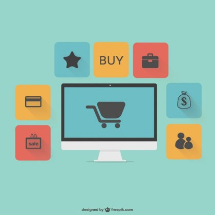 Flat Online Shopping Graphics Free Vector