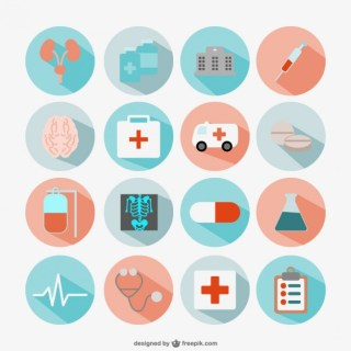 Flat Round Medical Icons Free Vector