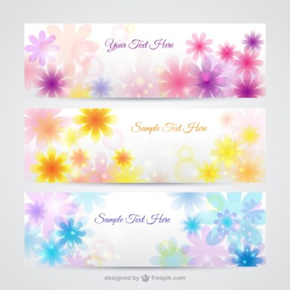 Floral Banners in Spring Style Free Vector