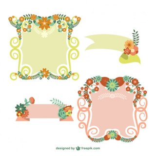 Floral Frames and Banners Free Vector