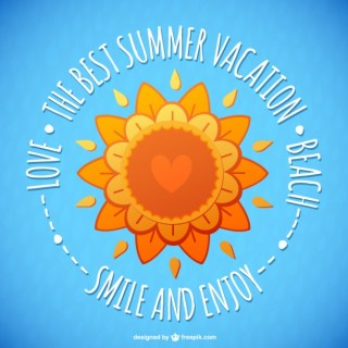 Floral Summer Sun Card Free Vector