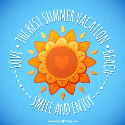 Floral Summer Sun Card Free Vector