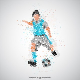 Football Player with Blue Tshirt Free Vector