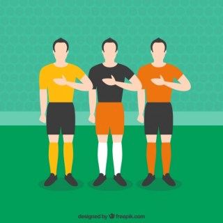 Football Players Listening to Anthem Free Vector