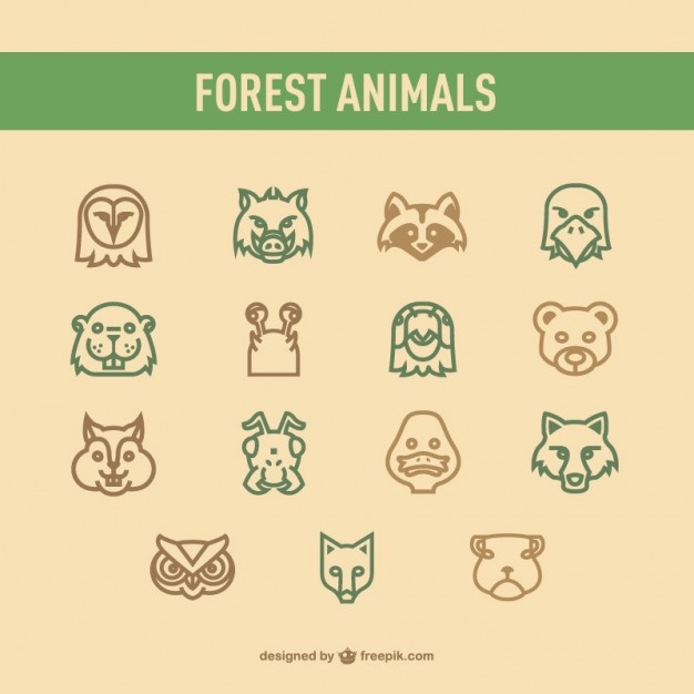 Forest Animals Icons Pack Free Vector
