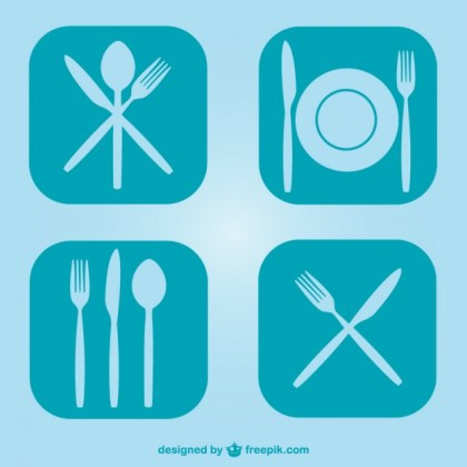 Free Flat Kitchen Utensils Symbols Free Vector