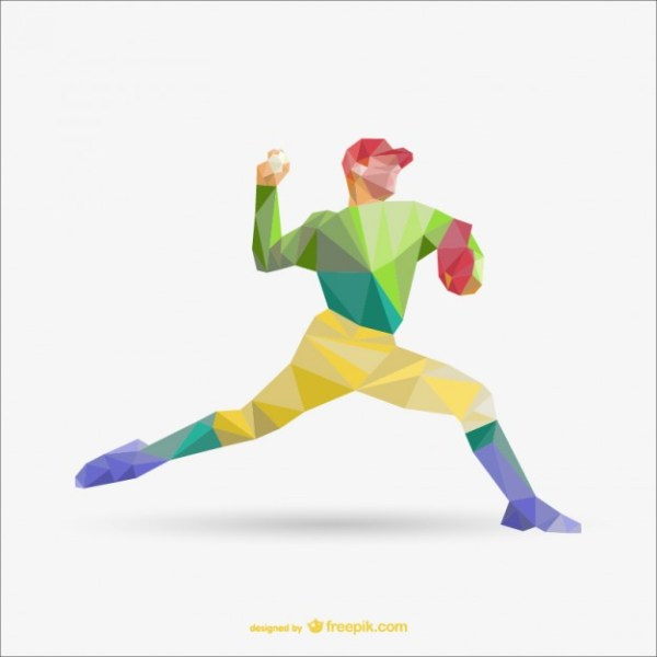 Free Polygon Drawing of Baseball Player Free Vector