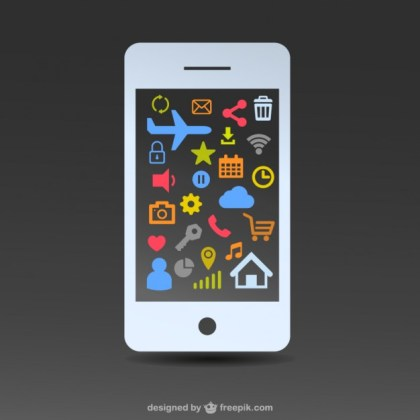 Free White Smartphone Flat Design Free Vector