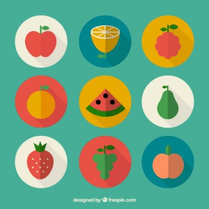 Fruits in Flat Design Free Vector