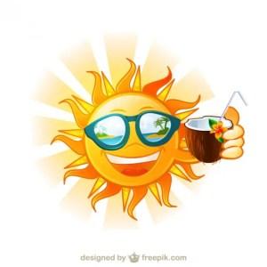 Funny Sun Tropical Island Cartoon Free Vector