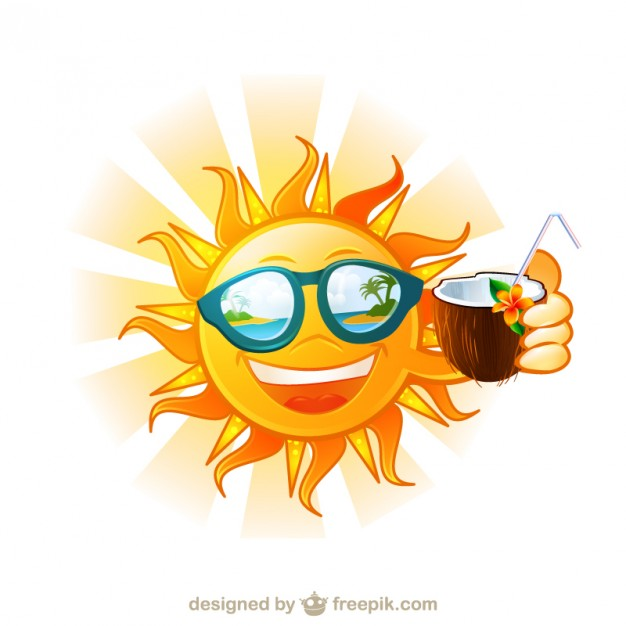 Funny Sun Tropical Island Cartoon Free Vector