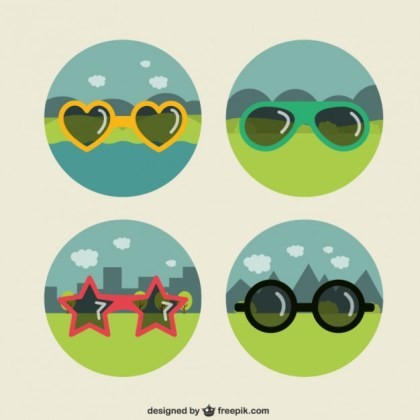 Funny Sunglasses Collection Free Vector