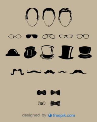 Gentlemen Face and Fashion Design Set Free Vector