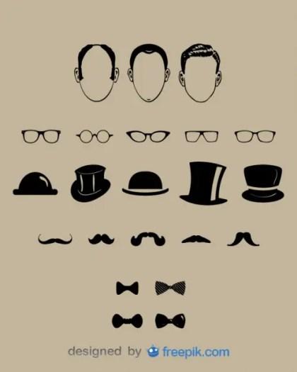 Gentlemen Fashion Design Elements Free Vector