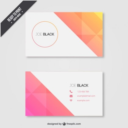 Geometric Business Card in Summer Tones Free Vector