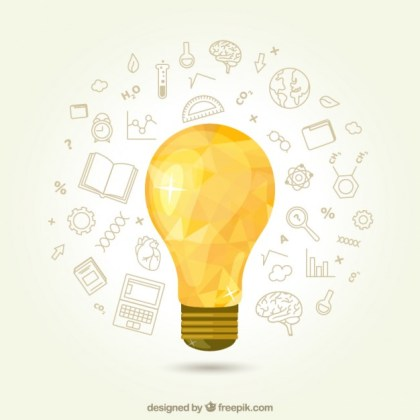 Geometric Light Bulb with Icons Free Vector