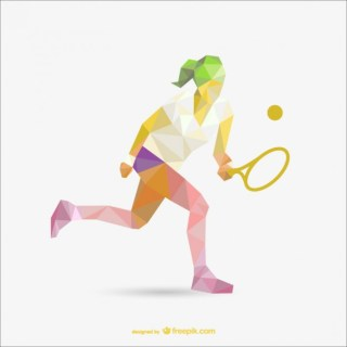 Geometry Drawing of Tennis Woman Player Free Vector