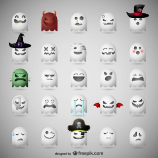 Ghost Emoticons for Halloween Free Vector
