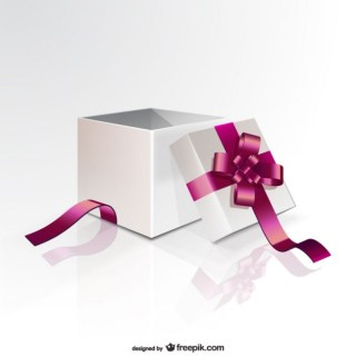 Gift Box with Pink Ribbon Free Vector