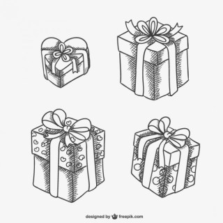 Gift Boxes Sketch Drawings Free Vector