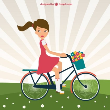 Girl Riding Bike in Park Free Vector
