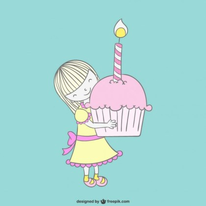 Girl with Cupcake Drawing Free Vector