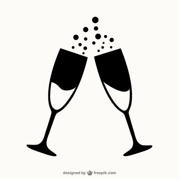 Glasses of Champagne Outlines Free Vector