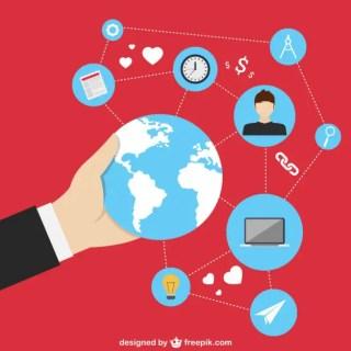 Global Social Media Icons Free Vector