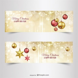 Golden Christmas Banners Free Vector