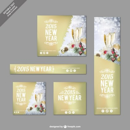 Golden Christmas Banners Pack Free Vector