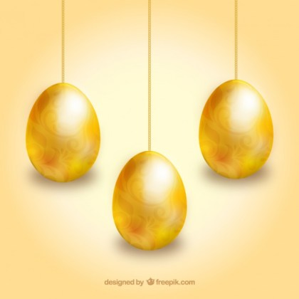 Golden Easter Eggs Hanging on Chains Free Vector