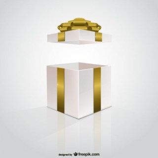 Golden Ribbon Gift Box Free Vector