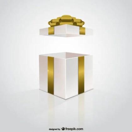 Golden Ribbon Gift Box Free Vector