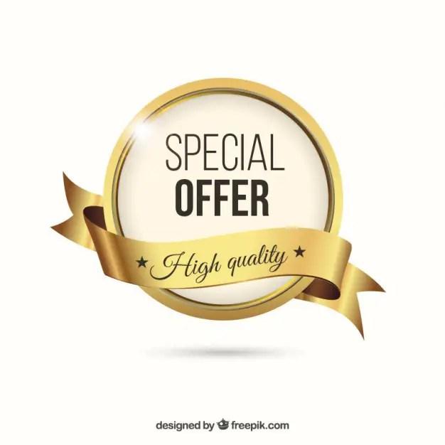 Golden Special Offer Label Free Vector