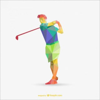 Golf Player Triangle Illustration Free Vector