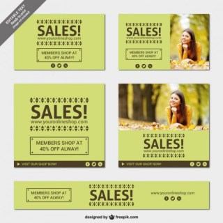 Green Sales Banners Free Vector