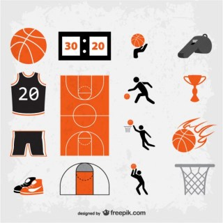 Grunge Basketball Symbols Free Vector
