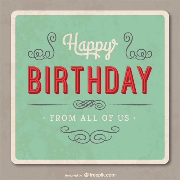 Grunge Birthday Card Free Vector