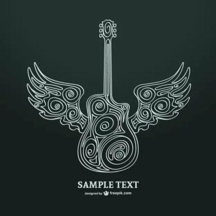 Guitar Art Illustration Free Vector