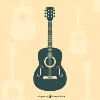Guitar Flat Silhouette Free Vector