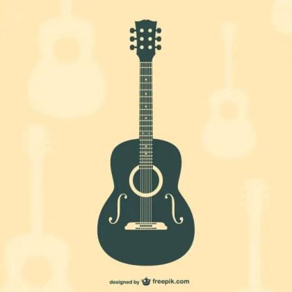 Guitar Flat Silhouette Free Vector