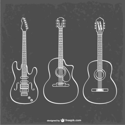 Guitar Line Art Illustration Free Vector