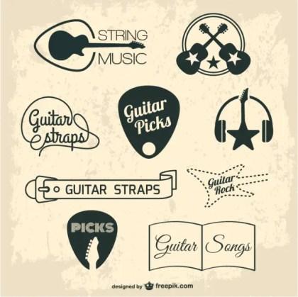 Guitar Retro Graphic Elements Free Vector