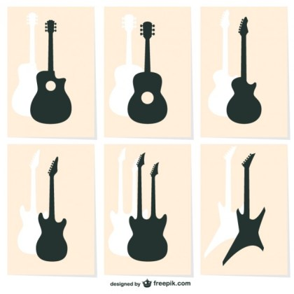 Guitar Silhouette Icons Free Vector