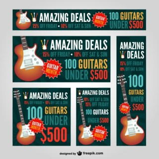 Guitar Web Banners Free Vector