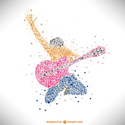 Guitarist Music Notes Background Template Free Vector