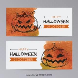 Halloween Banner Templates with Pumpkin Free Vector