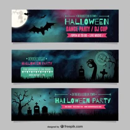 Halloween Dance Party Banner Templates Free Vector