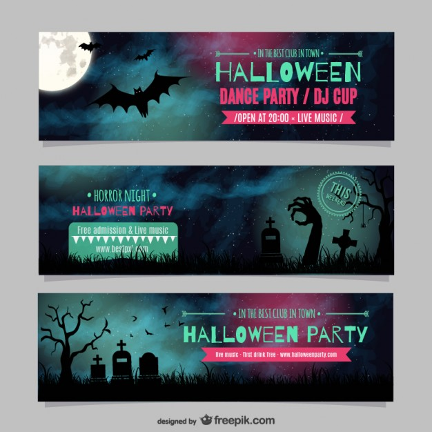 Halloween Dance Party Banner Templates Free Vector